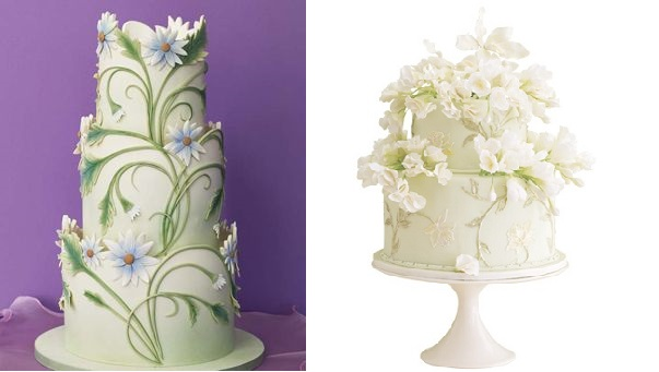 Spring Wedding Cakes from Mike's Amazing Cakes (left) and Ana's Custom Cakes via The Knot (right)
