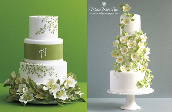 Spring Wedding Cakes from The Knot. com (left) and Pamela McCaffrey (right)