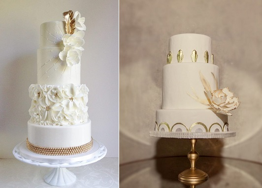 Vintage feather wedding cake Gatsby style by The Cake Whisperer (left) and art deco Gatsby wedding cake by Sweet Sensations (right) via Style Me Pretty, photo by Sean & Amanda