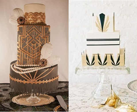 art deco cake by Nom Nom Sweeties (left) and by Lael Cakes (right)