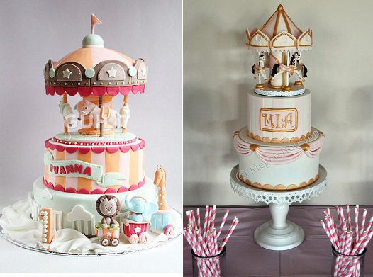 carousel cakes from Guilt Desserts (left) and via Pinterest (right)