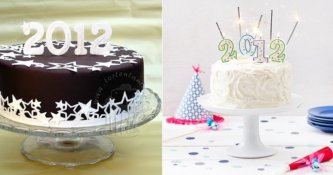 chocolate New Year's Eve cake from Torten Tante blog (left) and New Year's Eve cake (right) from Better Homes and Gardens