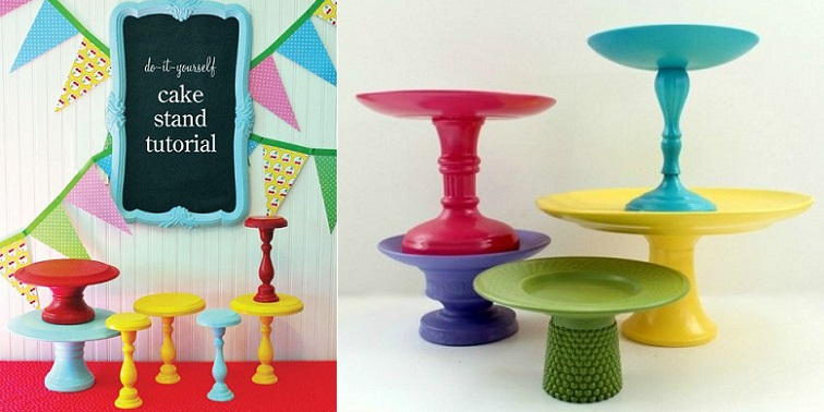diy cake stands from Pinterest (left) and tutorial from Sweet Sugarbelle (right)
