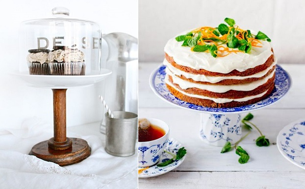 diy cake stands from Sugar and Cloth (left) and from DecoLife Mag (right)