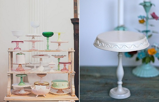 diy cake stands from minted and vintage.com (left) and Drama Queen At Work (right)
