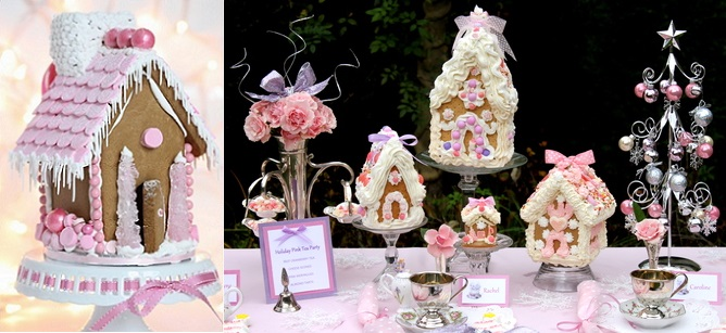 gingerbread houses in pink from Sweetopia. com (left) and from Catch My Party by Courtney D. (right)