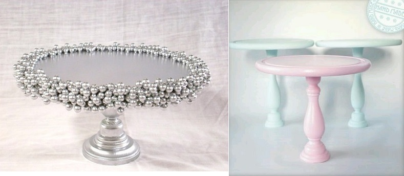 diy cake stand ideas from Delightfully Lovely on Etsy (left) and from Pinterest(right)