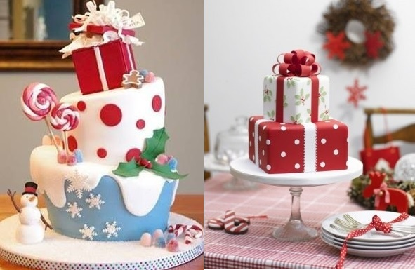 present stack christmas cakes from Pinterest (left) and from Zoe Clark via Indulgy.com (right)