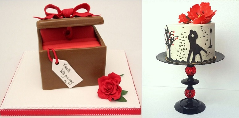 ring box engagement cake from All About Cake.co.uk (left) and engagement cake from Andrada's Kitchen (right)