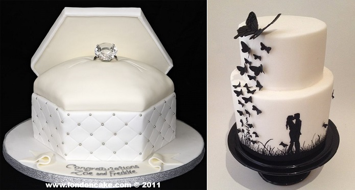 ring box engagement cake from London Cake (left) and silhouette engagement cake by Susie Kelly Cakes.