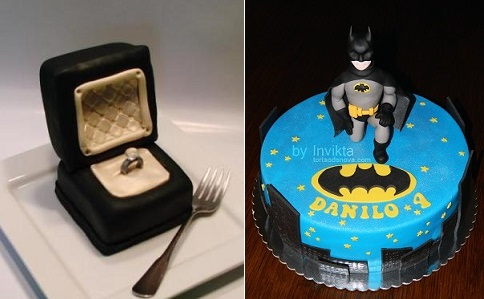 ring box engagment cake from CutestFood  (left) and Batman cake from Invikta on Cake Central (right)
