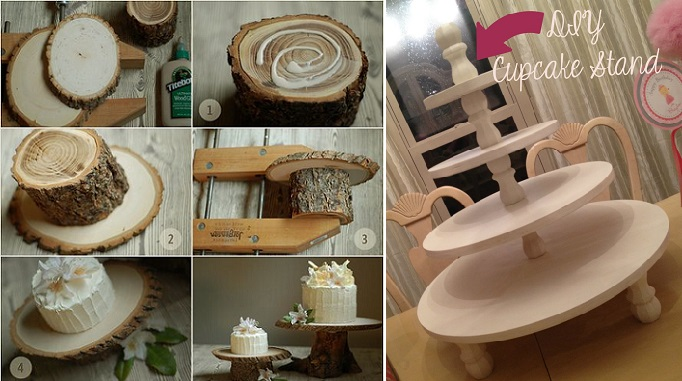 rustic tree trunk wedding cake stand by Laurie Cinnotto via Once Wed (left) and DIY cupcake stand from Life in the Green House (right)