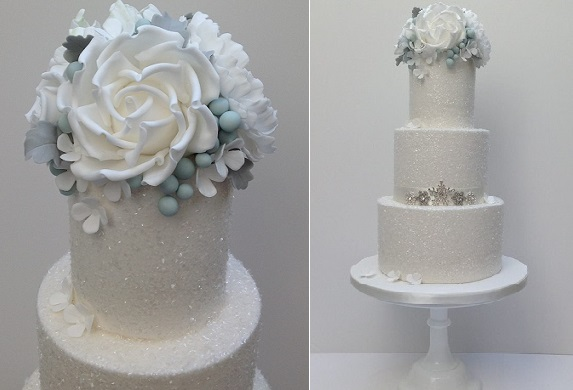 snowflake wedding cake by Scrumdiddly UK