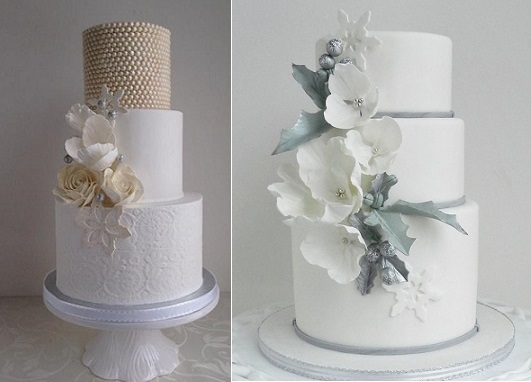 snowflake wedding cakes by The Cake Whisperer
