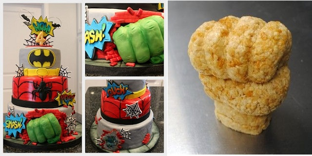 superhero cake by Kelly's Kakez (left) and hulk hand tutorial by kamis cakes. com (cake carved from rice krispie treats)