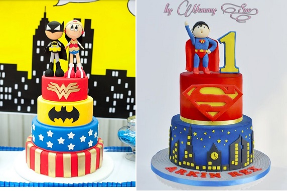 superhero wedding cake via Pinterest (left) and cake by Mommy Sue on CakesDecor (right)