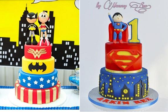 superhero wedding cake via Pinterest (left) and cake by Mommy Sue on CakesDecor (right)