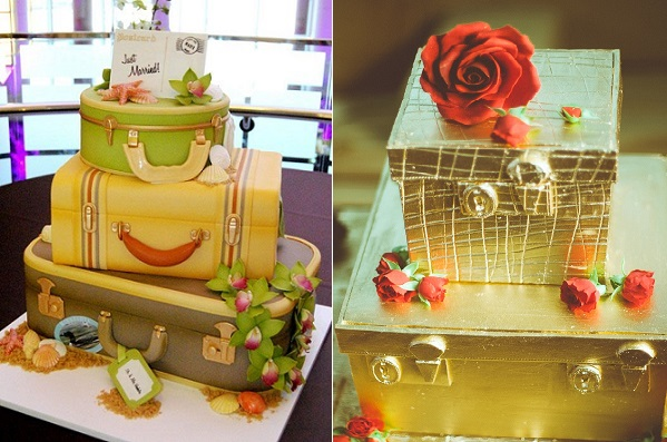vintage luggage wedding cakes by Katie Shea Design (left) and Elizabeth Solaru (right) via Ruffled Blog