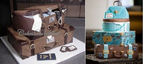 suitcase cakes vintage luggage from Sugar Teachers Blog (left) and via Indulgy.com (right)