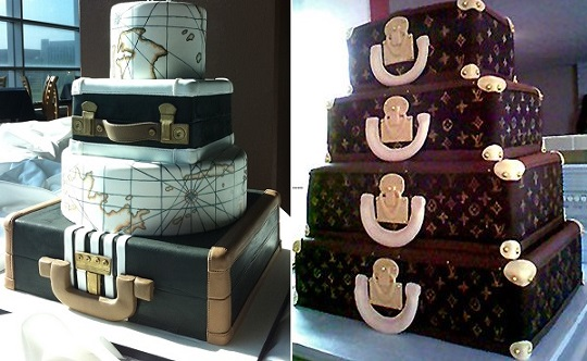 suitcase cakes vintage luggage cakes from Sweet Face Cakes (left) and from oksugar.com (right)