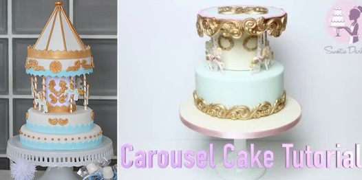 carousel cake tutorial by Mama Wears Prada left, carousel cake tutorial by Sweetie Darling right