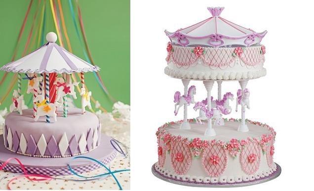 carousel-cakes-from-Fiona-Cairns-via-Pinterest-left-and from Wilton right