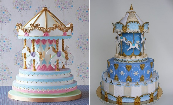 carousel cakes or merry-go-round cakes via Galyna's Edible Art on Pinterest (left) and by Bubolinkata right