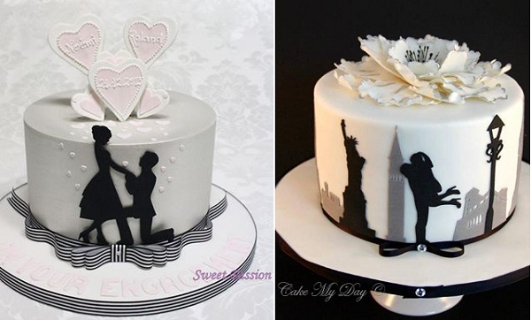 engagement cakes by Sweet Passion left, Cake My Day right