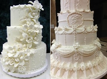 lambeth piping wedding cakes by Colette's Cakes left and via Pinterest right