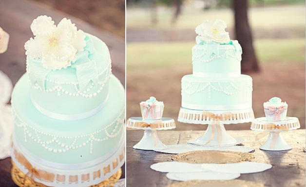 tiffany blue wedding cake with piped pearls garland by Madisons on Main with photo by Amanda Watson Photography via Wedding Chicks