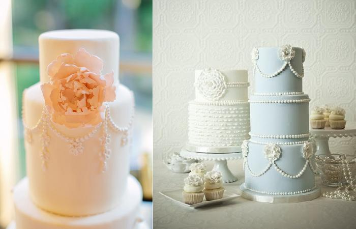 piping techniques with cake from Style Me Pretty, Photo by Red Fly Studio (left) and by Divine Cakes By Luisa Galuppo (right)