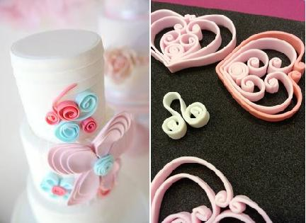 quilling on cake by Blissfully Sweet Cakes left and heart quilling tutorial right