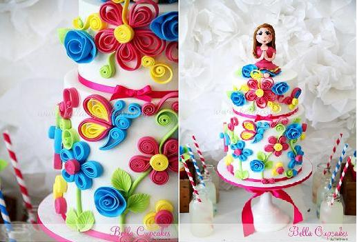 quilling or quilled cake design confirmation cake from Bella Cupcakes