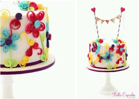 quilling or quilled cake design for birthday cake by Bella Cupcakes