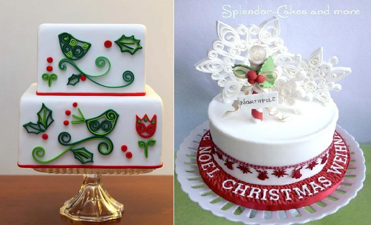 quilling or quilled christmas cake decorating ideas from Karla's Little Bakery.com left and Splendour Cakes & More right