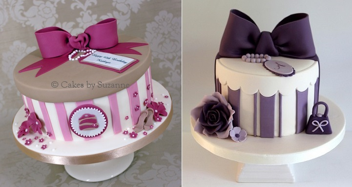 vintage hatbox cakes by Cakes by Suzanne left and  by Pasteles Alma right
