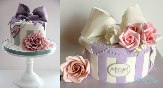 vintage hatbox cakes via MBakes.com from Cotton & Crumbs hatbox class (left) and from Eileen Fry Cakes (right)