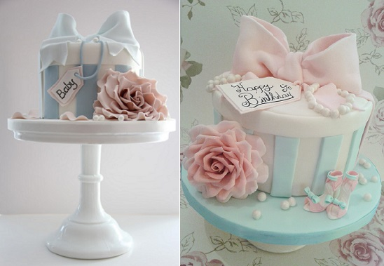 vintage hatbox cakes via MBakes.com from Cotton & Crumbs hatbox class (left) and from Katie's Cake Box.co.uk (right)