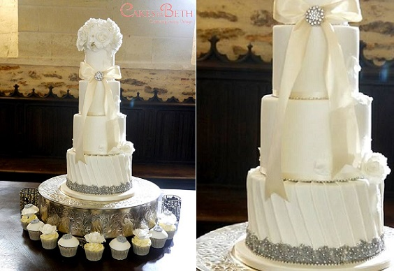 Pleated cake design with silver beading vintage wedding cake by Cakes by Beth UK