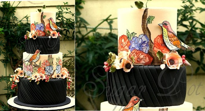 Pleated cake multi-demensional cake design by Sugar Pot