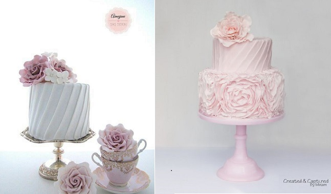 Pleated cakes by Aimee Jane Cake Design left and Created and Captured by Kate right