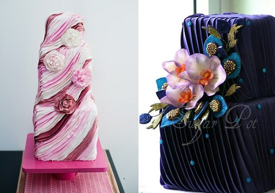 Pleated wedding cake designs by Sugar Pot right and via Pinterest left