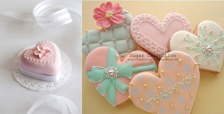 Valentines cookies from Sugar Collection right and valentines cake mini left via Tumblr