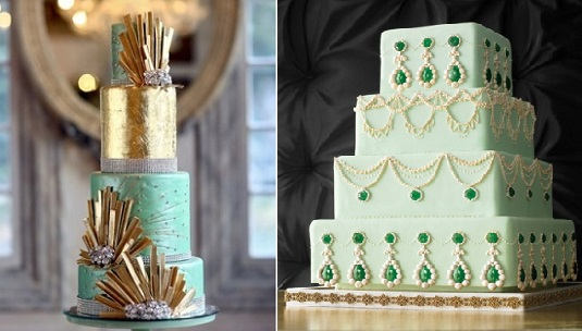 art deco wedding cakes via Lace-in-the-Dessert-left-and-via-Martha Stewart Weddings -right