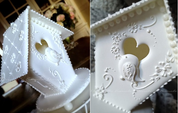 birdhouse cake in royal icing with lace piping by Donatella Semalo, Italy
