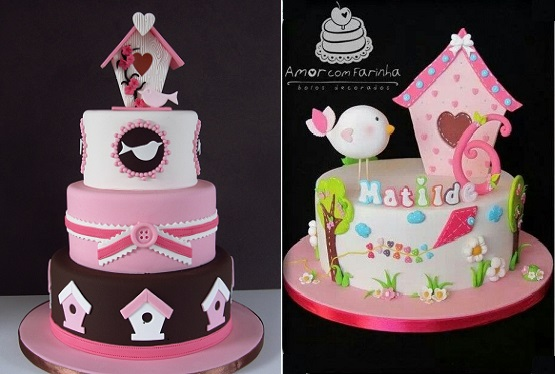 birdhouse cakes by Amor com Farinha right and via Tumblr left