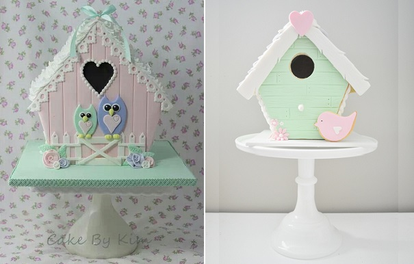 birdhouse cakes with owls by Cakes by Kim left and via Pinterest right
