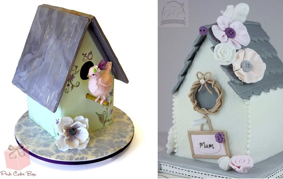 birdhouse house cakes by the Pink Cake Box left and The Go Go Sugar Company right
