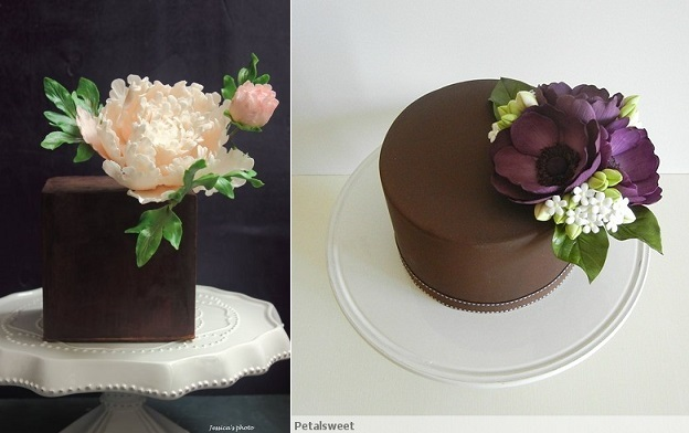 chocolate cake decorating chocolate cakes by Jessica Vu via CakesDecor left and chocolate cake by PetalSweet right