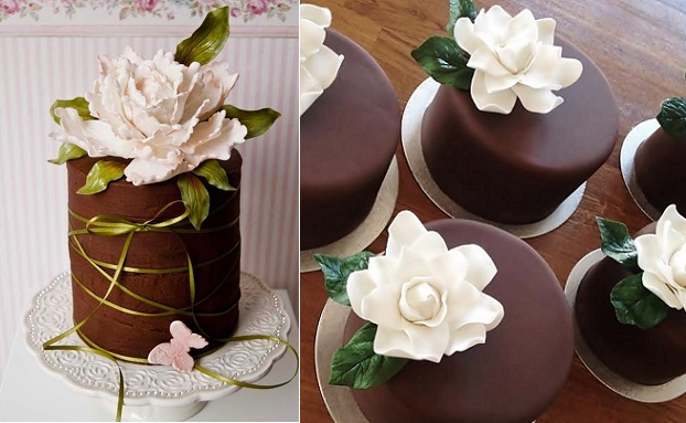 chocolate cake decorating ideas with sugar flowers via Craftsy left and by Mina Magiska Bakverk right